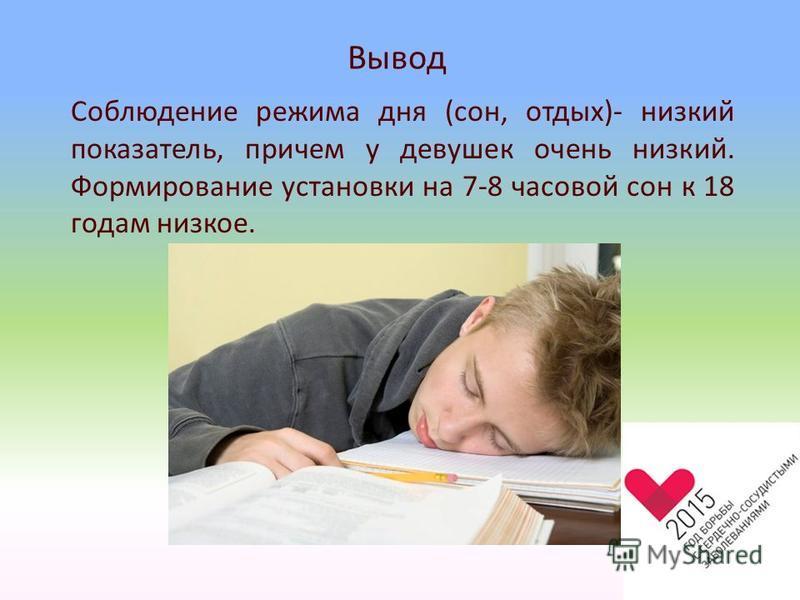 Вывод Соблюдение режима дня (сон, отдых)- низкий показатель, причем у девушек очень низкий. Формирование установки на 7-8 часовой сон к 18 годам низкое.