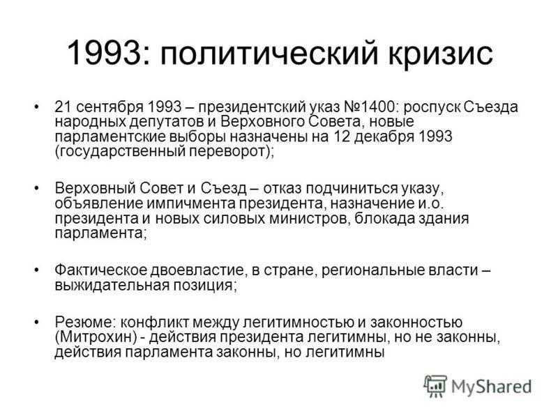 1993: политический кризис 21 сентября 1993 – президентский указ 1400: роспуск Съезда народных депутатов и Верховного Совета, новые парламентские выборы назначены на 12 декабря 1993 (государственный переворот); Верховный Совет и Съезд – отказ подчинит