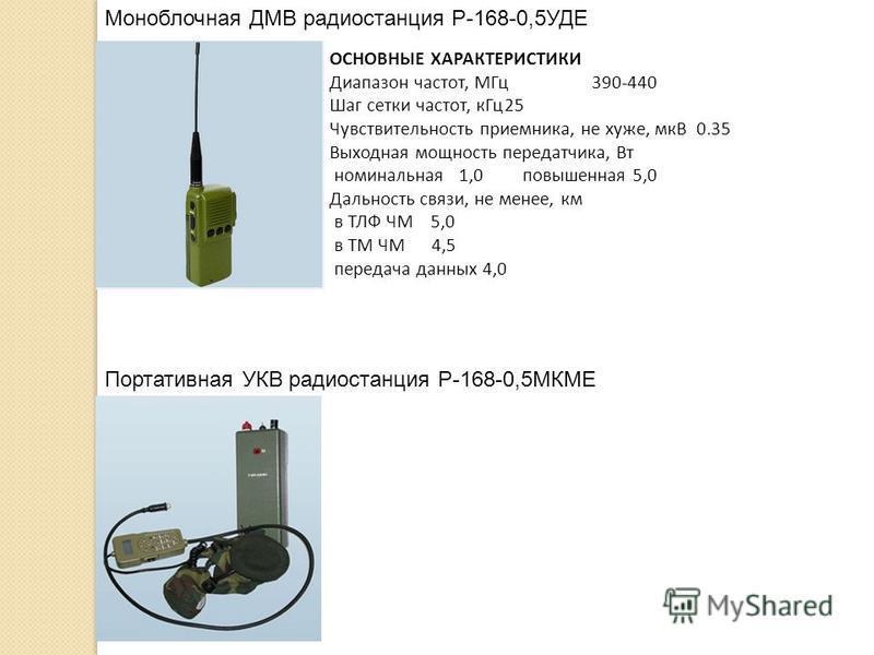 Моноблочная ДМВ радиостанция Р-168-0,5УДЕ Портативная УКВ радиостанция Р-168-0,5МКМЕ ОСНОВНЫЕ ХАРАКТЕРИСТИКИ Диапазон частот, МГц 390-440 Шаг сетки частот, к Гц 25 Чувствительность приемника, не хуже, мкВ 0.35 Выходная мощность передатчика, Вт номина