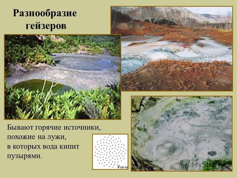 Бывают горячие источники, похожие на лужи, в которых вода кипит пузырями. Разнообразие гейзеров