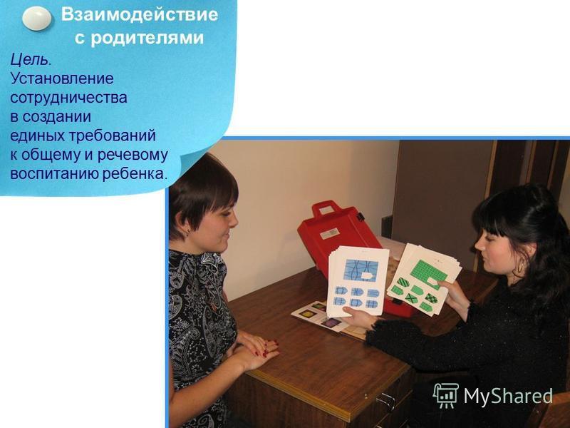 Взаимодействие с родителями Цель. Установление сотрудничества в создании единых требований к общему и речевому воспитанию ребенка.