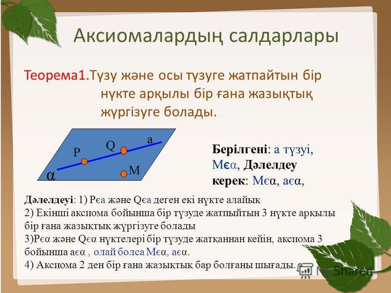 Аксиомалардың салдарлары Теорема1.Түзу және осы түзуге жатпайтын бір нүкте арқылы бір ғана жазықтық жүргізуге болады. Q M α P а Берілгені: а түзуі, М є α, Дәлелдеу керек: Мєα, аєα, Дәлелдеуі: 1) Рєа және Qєа деген екі нүкте алайық 2) Екінші аксиома б