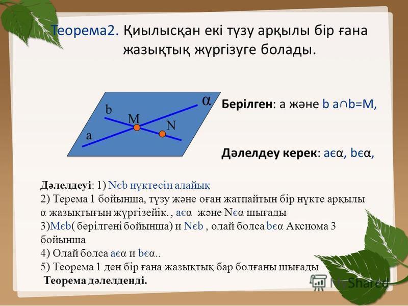 Теорема2. Қиылысқан екі түзу арқылы бір ғана жазықтық жүргізуге болады. N b M a α Берілген: а және b аb=М, Дәлелдеу керек: аєα, bєα, Дәлелдеуі: 1) Nєb нүктесін алайық 2) Терема 1 бойынша, түзу және оған жатпайтын бір нүкте арқылы α жазықтығын жүргізе