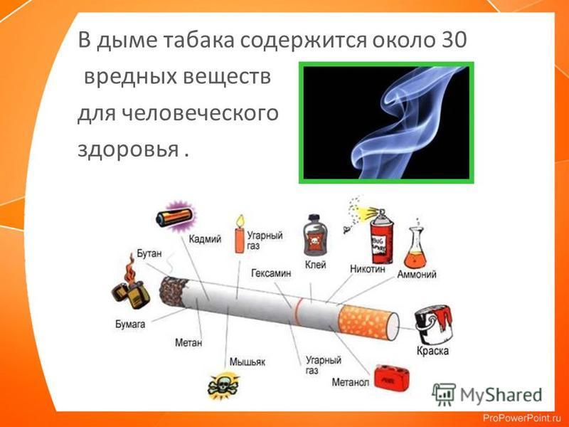 В дыме табака содержится около 30 вредных веществ для человеческого здоровья.