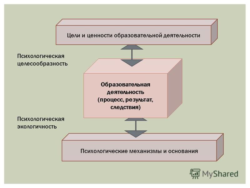 Психологические механизмы и основания Образовательная деятельность (процесс, результат, следствия) Цели и ценности образовательной деятельности Психологическая целесообразность Психологическая экологичность