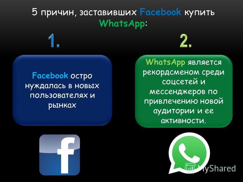 5 причин, заставивших Facebook купить WhatsApp: Facebook остро нуждалась в новых пользователях и рынках WhatsApp является рекордсменом среди соцсетей и мессенджеров по привлечению новой аудитории и ее активности.