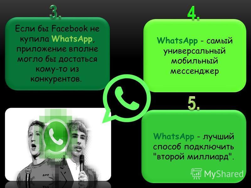 Если бы Facebook не купила WhatsApp, приложение вполне могло бы достаться кому-то из конкурентов. WhatsApp - самый универсальный мобильный мессенджер WhatsApp - лучший способ подключить второй миллиард.
