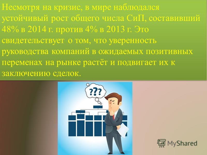 Несмотря на кризис, в мире наблюдался устойчивый рост общего числа СиП, составивший 48% в 2014 г. против 4% в 2013 г. Это свидетельствует о том, что уверенность руководства компаний в ожидаемых позитивных переменах на рынке растёт и подвигает их к за