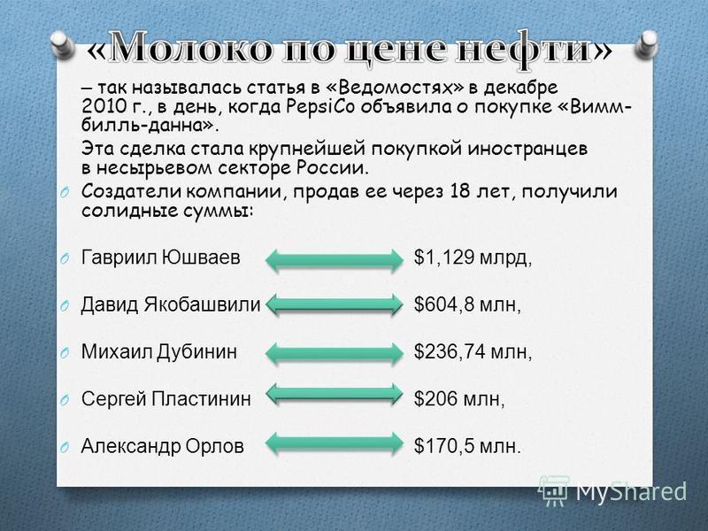 – так называлась статья в «Ведомостях» в декабре 2010 г., в день, когда PepsiCo объявила о покупке «Вимм- билль-дана». Эта сделка стала крупнейшей покупкой иностранцев в несырьевом секторе России. O Создатели компании, продав ее через 18 лет, получил