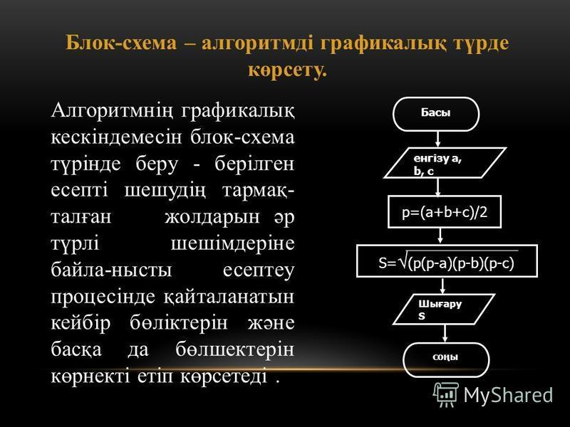 Блок-схема – алгоритмді графикалық түрде көрсету. Алгоритмнің графикалық кескіндемесін блок-схема түрінде беру - берілген есепті шешудің тармақ- талған жолдарын әр түрлі шешімдеріне байла-нысты есептеу процесінде қайталанатын кейбір бөліктерін және б