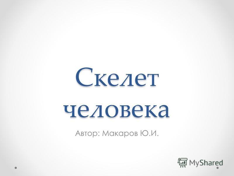 Скелет человека Автор: Макаров Ю.И.