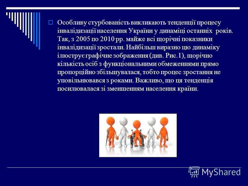 Особливу стурбованість викликають тенденції процесу інвалідизації населення України у динаміці останніх років. Так, з 2005 по 2010 рр. майже всі щорічні показники інвалідизації зростали. Найбільш виразно цю динаміку ілюструє графічне зображення (див.