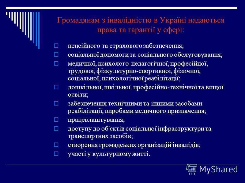 Громадянам з інвалідністю в Україні надаються права та гарантії у сфері: пенсійного та страхового забезпечення; соціальної допомоги та соціального обслуговування; медичної, психолого-педагогічної, професійної, трудової, фізкультурно-спортивної, фізич