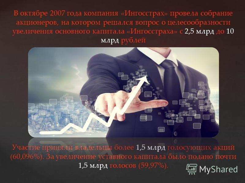 { В октябре 2007 года компания «Ингосстрах» провела собрание акционеров, на котором решался вопрос о целесообразности увеличения основного капитала «Ингосстраха» с 2,5 млрд до 10 млрд рублей Участие приняли владельцы более 1,5 млрд голосующих акций (