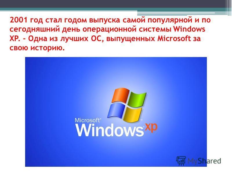 2001 год стал годом выпуска самой популярной и по сегодняшний день операционной системы Windows XP. - Одна из лучших ОС, выпущенных Microsoft за свою историю.