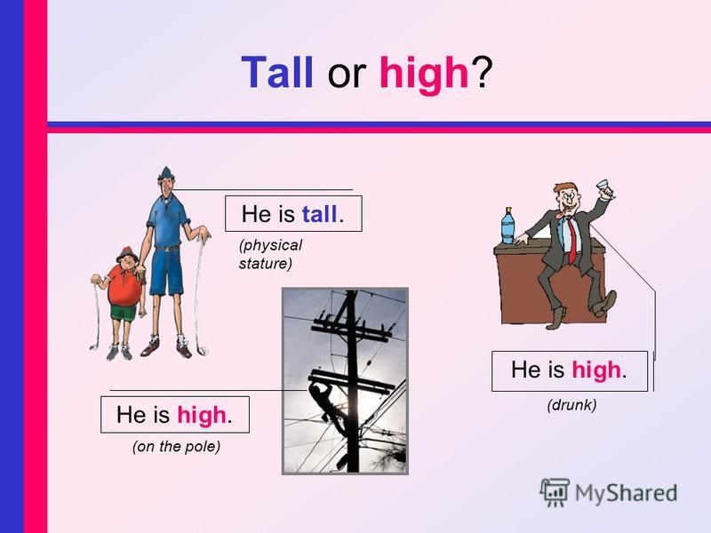 Tall or high? He is tall. He is high. (on the pole) (drunk) (physical stature)