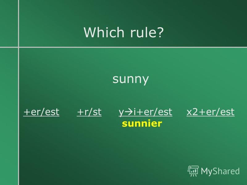 Which rule? sunny +er/est +r/st y i+er/est x2+er/est sunnier