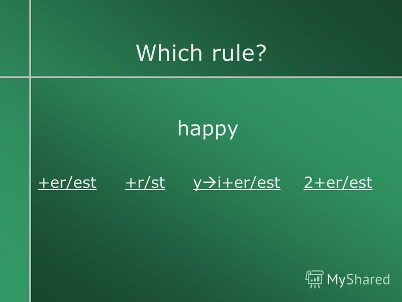 Which rule? happy +er/est +r/st y i+er/est 2+er/est
