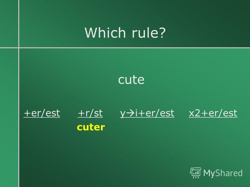 Which rule? cute +er/est +r/st y i+er/est x2+er/est cuter