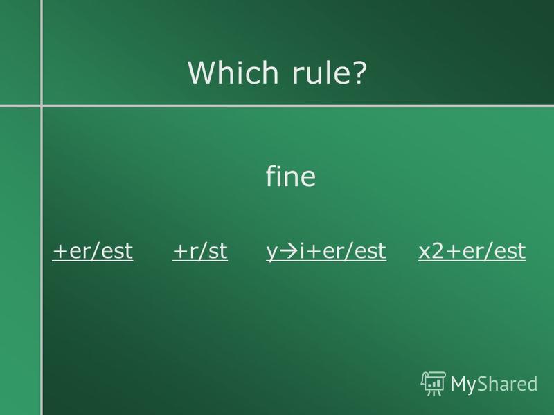 Which rule? fine +er/est +r/st y i+er/est x2+er/est