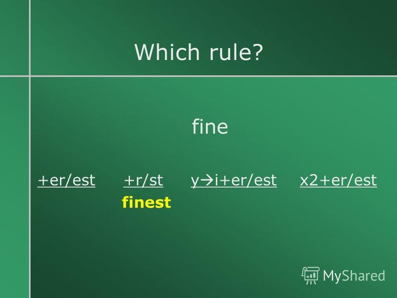 Which rule? fine +er/est +r/st y i+er/est x2+er/est finest