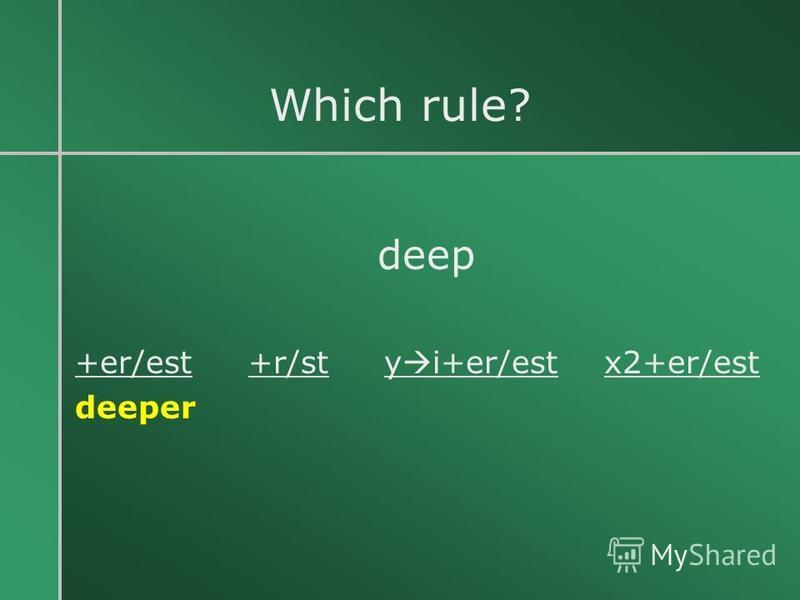 Which rule? deep +er/est +r/st y i+er/est x2+er/est deeper