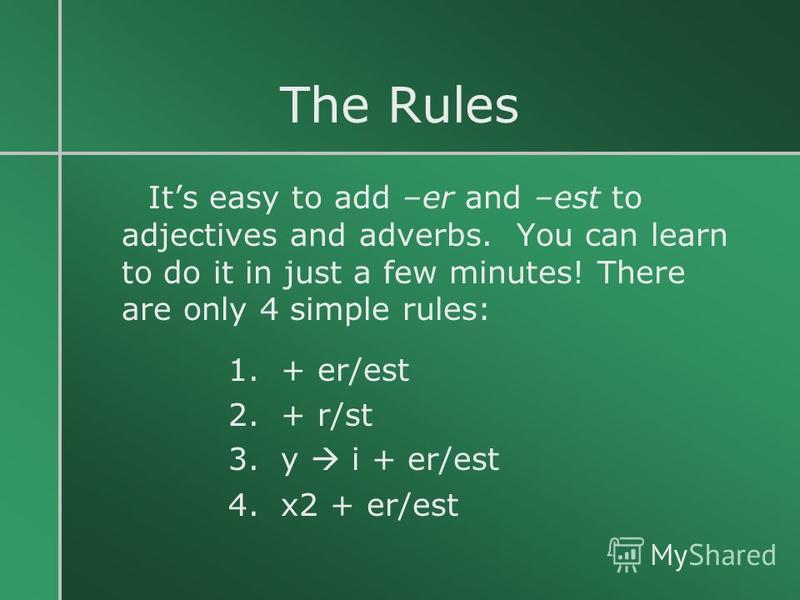 The Rules Its easy to add –er and –est to adjectives and adverbs. You can learn to do it in just a few minutes! There are only 4 simple rules: 1. + er/est 2. + r/st 3. y i + er/est 4. x2 + er/est