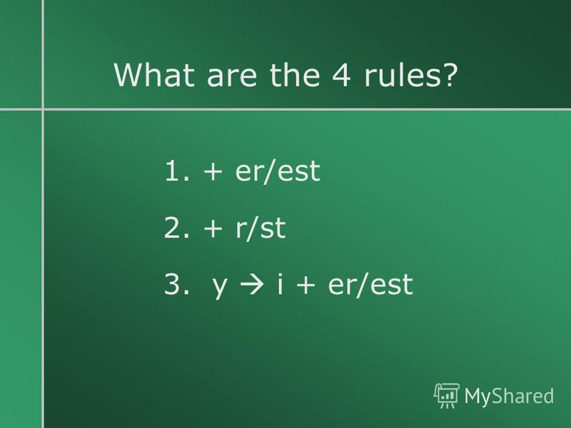 What are the 4 rules? 1. + er/est 2. + r/st 3. y i + er/est