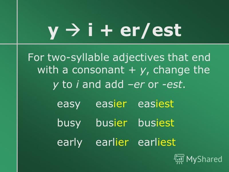 y i + er/est For two-syllable adjectives that end with a consonant + y, change the y to i and add –er or -est. easy easiereasiest busy busierbusiest early earlierearliest