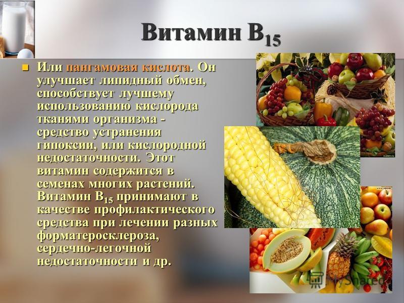 Витамин В 15 Или пангамовая кислота. Он улучшает липидный обмен, способствует лучшему использованию кислорода тканями организма - средство устранения гипоксии, или кислородной недостаточности. Этот витамин содержится в семенах многих растений. Витами