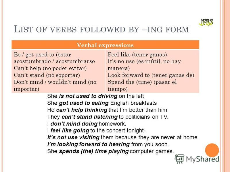 L IST OF VERBS FOLLOWED BY – ING FORM Verbal expressions Be / get used to (estar acostumbrado / acostumbrarse Cant help (no poder evitar) Cant stand (no soportar) Dont mind / wouldnt mind (no importar) Feel like (tener ganas) Its no use (es inútil, n
