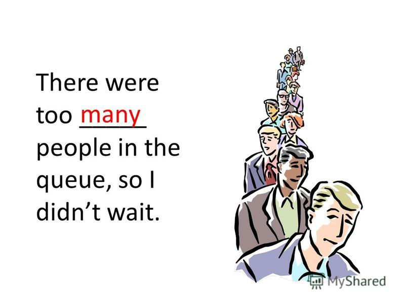 There were too _____ people in the queue, so I didnt wait. many