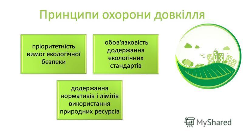 Принципи охорони довкілля пріоритетність вимог екологічної безпеки обов ' язковість додержання екологічних стандартів обов ' язковість додержання екологічних стандартів додержання нормативів і лімітів використання природних ресурсів
