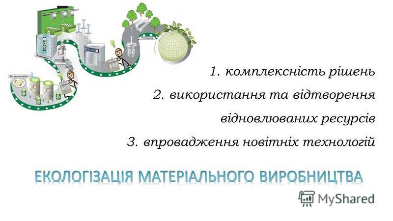 1.комплексність рішень 2.використання та відтворення відновлюваних ресурсів 3.впровадження новітніх технологій