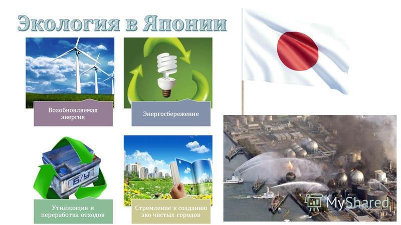 Возобновляемая энергия Энергосбережение Утилизация и переработка отходов Стремление к созданию эко чистых городов