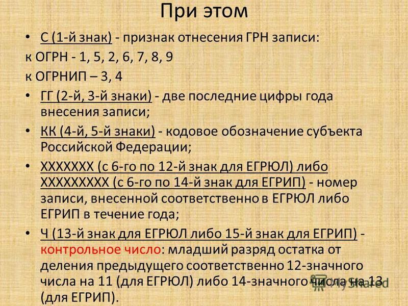 При этом С (1-й знак) - признак отнесения ГРН записи: к ОГРН - 1, 5, 2, 6, 7, 8, 9 к ОГРНИП – 3, 4 ГГ (2-й, 3-й знаки) - две последние цифры года внесения записи; КК (4-й, 5-й знаки) - кодовое обозначение субъекта Российской Федерации; XXXXXXX (с 6-г