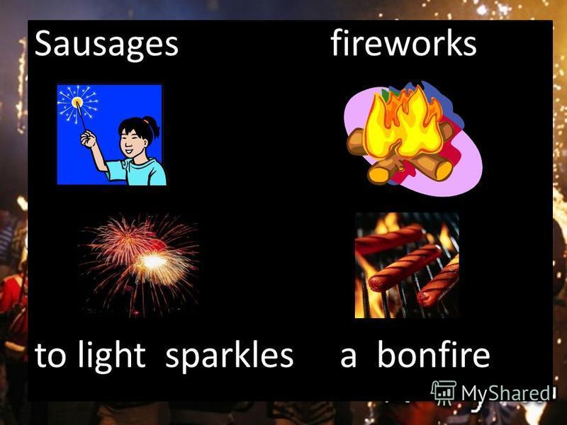 Sausages fireworks to light sparkles a bonfire