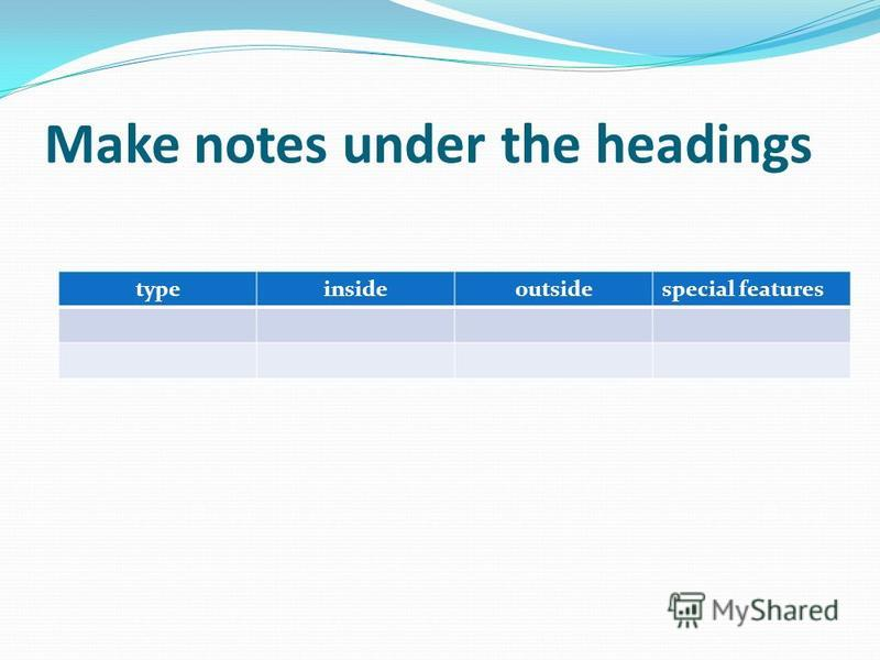 Make notes under the headings typeinsideoutsidespecial features