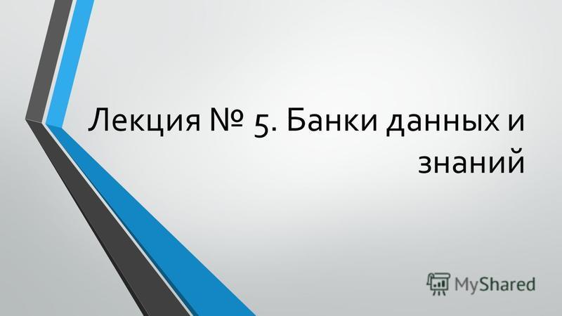 Лекция 5. Банки данных и знаний