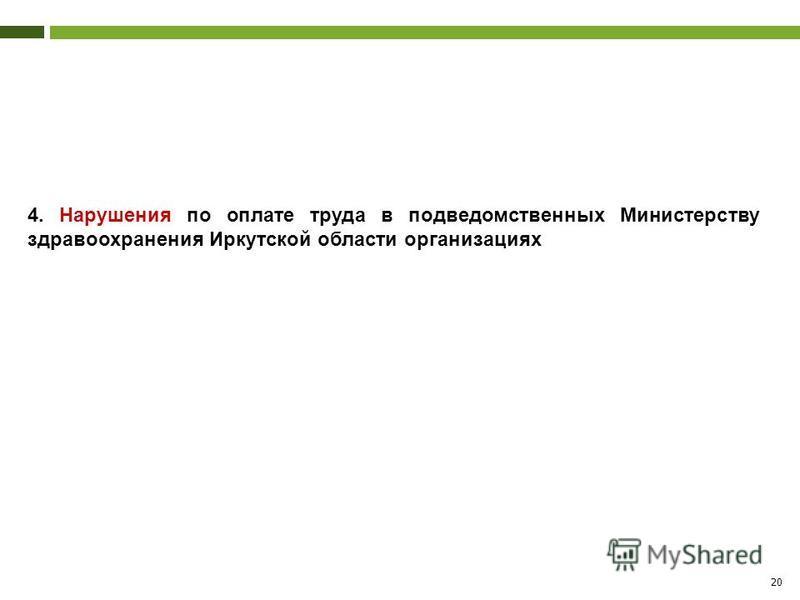 20 4. Нарушения по оплате труда в подведомственных Министерству здравоохранения Иркутской области организациях