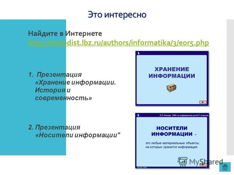 Это интересно 2. Презентация «Носители информации Найдите в Интернете http://metodist.lbz.ru/authors/informatika/3/eor5. php http://metodist.lbz.ru/authors/informatika/3/eor5. php 1. Презентация «Хранение информации. История и современность»