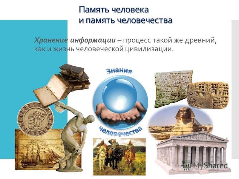 Память человека и память человечества Хранение информации – процесс такой же древний, как и жизнь человеческой цивилизации.