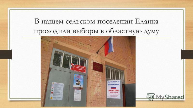 В нашем сельском поселении Еланка проходили выборы в областную думу