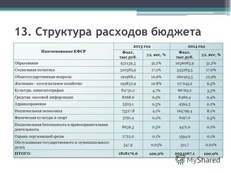13. Структура расходов бюджета