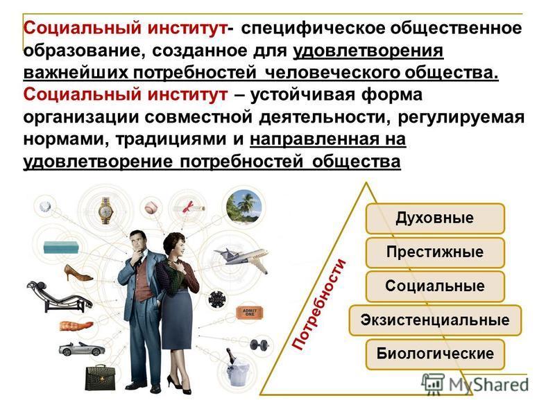 Социальный институт- специфическое общественное образование, созданное для удовлетворения важнейших потребностей человеческого общества. Социальный институт – устойчивая форма организации совместной деятельности, регулируемая нормами, традициями и на