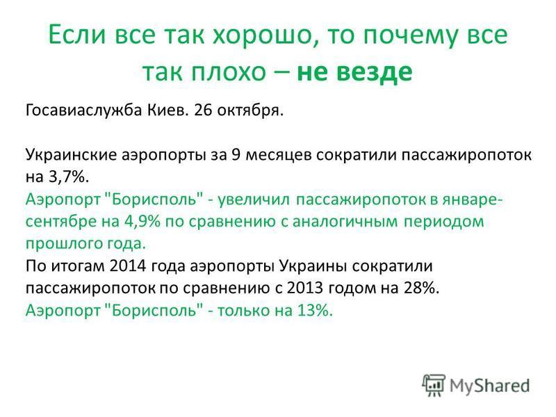 Если все так хорошо, то почему все так плохо – не везде Госавиаслужба Киев. 26 октября. Украинские аэропорты за 9 месяцев сократили пассажиропоток на 3,7%. Аэропорт