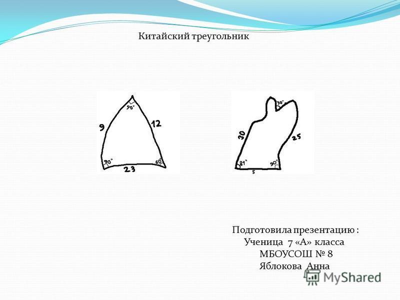 Китайский треугольник Подготовила презентацию : Ученица 7 «А» класса МБОУСОШ 8 Яблокова Анна