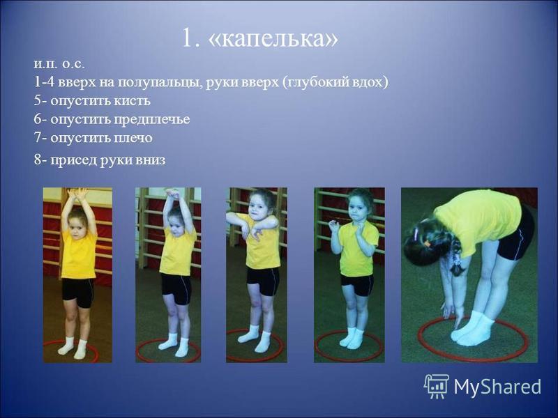 1. «капелька» и.п. о.с. 1-4 вверх на полупальцы, руки вверх (глубокий вдох) 5- опустить кисть 6- опустить предплечье 7- опустить плечо 8- присед руки вниз