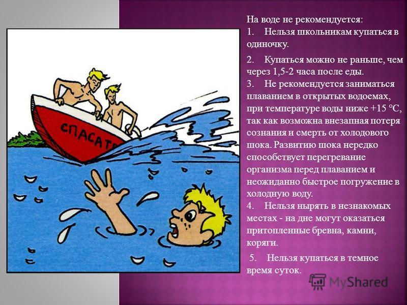 На воде не рекомендуется: 1. Нельзя школьникам купаться в одиночку. 2. Купаться можно не раньше, чем через 1,5-2 часа после еды. 3. Не рекомендуется заниматься плаванием в открытых водоемах, при температуре воды ниже +15 °С, так как возможна внезапна