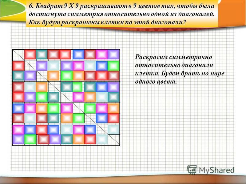 6. Квадрат 9 Х 9 раскрашивают в 9 цветов так, чтобы была достигнута симметрия относительно одной из диагоналей. Как будут раскрашены клетки по этой диагонали? Раскрасим симметрично относительно диагонали клетки. Будем брать по паре одного цвета.